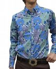 Mens Flower SHIRT -  Psychedelic Floral Shirt - Blue